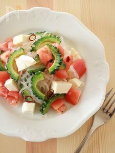 しらたきで!ゴーヤとトマトのダイエットペペロンチーノ