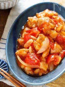鶏肉とトマトの酢豚風【#作り置き #お弁当 #大量消費】