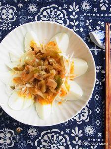 ゆで卵と搾菜(ザーサイ)のねぎラー油和え