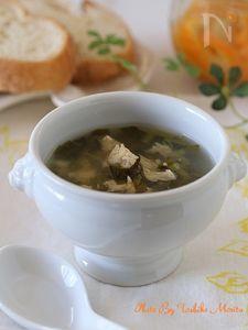 ささみと小松菜の塩レモンスープ