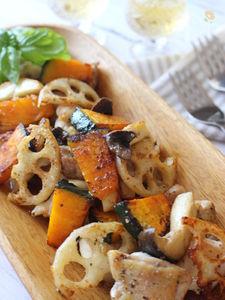 鶏肉と秋野菜のハーブ炒め