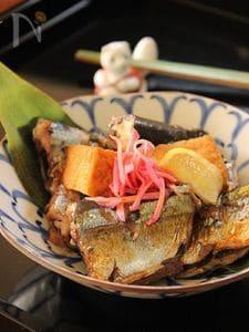 秋刀魚と厚揚げの蒲焼煮