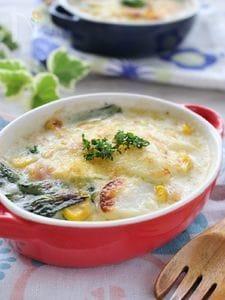 小松菜とキャベツのグラタン