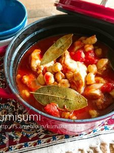 ひよこ豆のトマトチキン煮込み