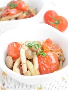 プチトマトとしめじのガーリックソテー