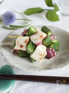 おくら・タコ・豆腐の梅肉和え