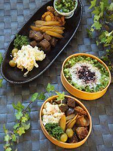 簡単3種の煮もの♪フライパンde貝柱と野菜の煮もの