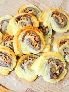 簡単おやつ♪冷凍パイシートdeあんナッツパイ