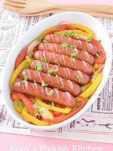 大きなソーセージとパプリカのおもてなしプレート アメリカ料理