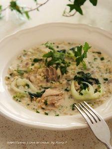 パクチョイ&牡蠣の玄米クリーミーリゾット