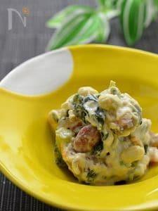 サラダ感覚で♪お豆さんとアスパラ、ほうれん草の白和え