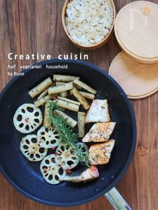 フライパンひとつで作る野菜と塩鮭ハーブのお弁当