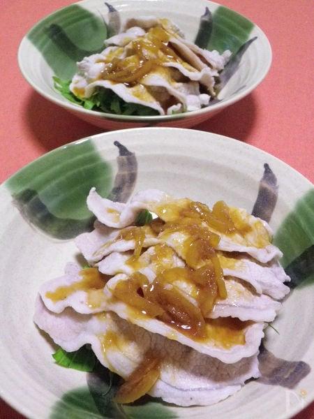 ◆豚肉の冷しゃぶと水菜の柚子茶ソース◆ 簡単クイックメニュー