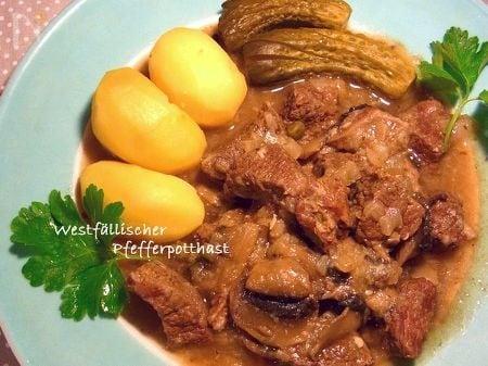 ドイツ風 牛肉の黒胡椒ビール煮