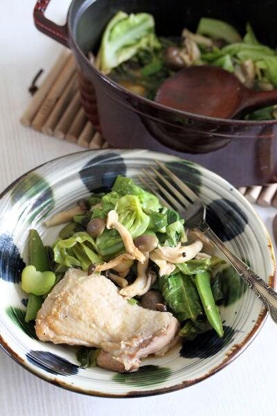 春野菜と鶏もも肉の和風ストウブ蒸し