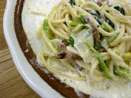 白菜のクリームペペロンチーノ