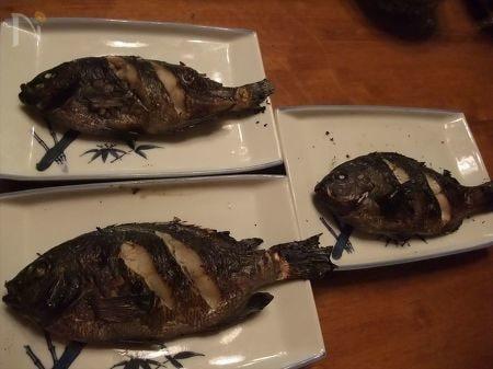 焼いて皿に盛り付けたグレの画像