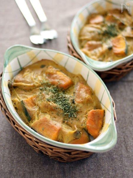 米粉でとろみ♪かぼちゃの豆乳カレーグラタン