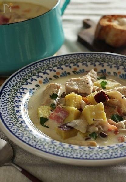 鶏むね肉とさつまいものクリームスープ