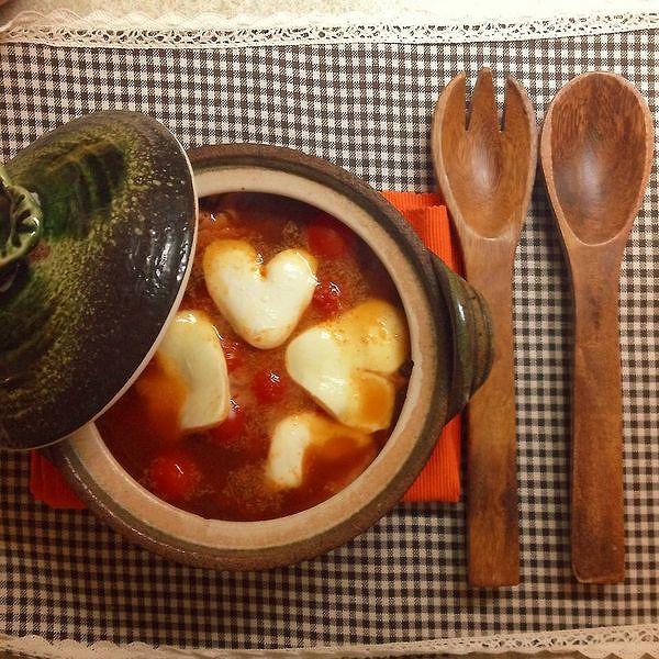 ハートのトマトキムチスープ