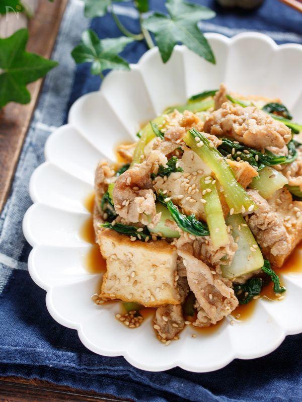 豚バラ厚揚げと青梗菜のうまだれ炒め【#作り置き #下味冷凍】