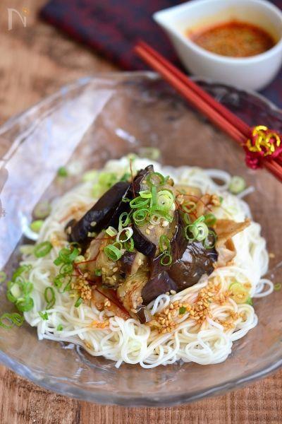 豚バラとなすのぶっかけ素麺