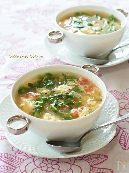 豆苗とトマトの夏スープ