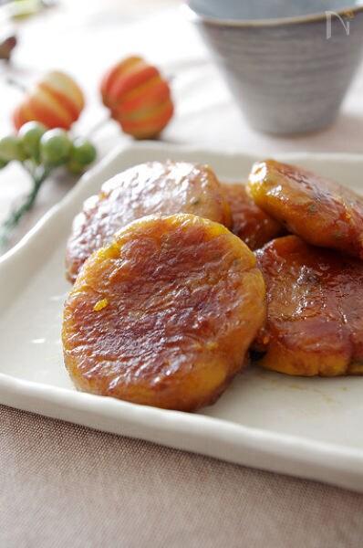 かぼちゃ団子のバター甘辛焼き☆