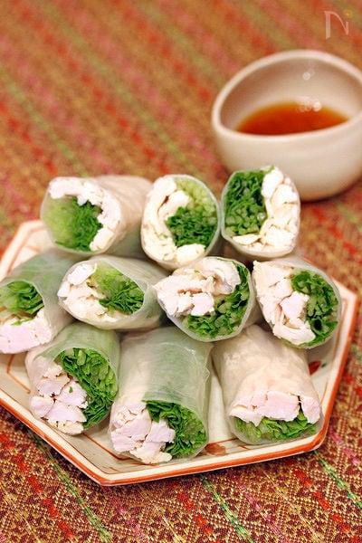 水菜と鶏胸肉の生春巻き