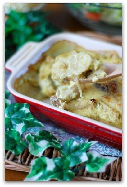 きのことネギの里芋ソースオーブン焼き
