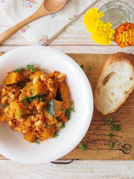 【常備菜】時短!かぼちゃと豆のカレーツナトマ煮
