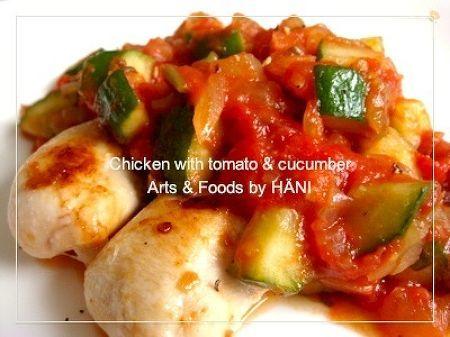 キュウリでイタリアン♪ささみ&トマトソース