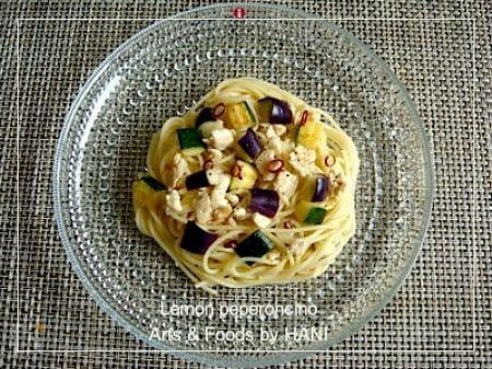 茄子とズッキーニのレモンペペロンチーノ
