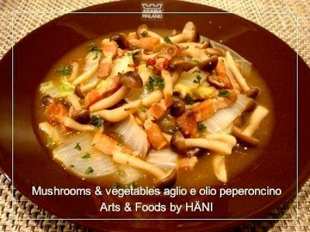 しめじと白菜のアーリォ エ オーリォペペロンチーノ
