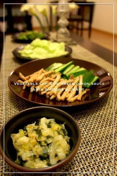Oisixの野菜と自家製葱ソースで豚肉巻き