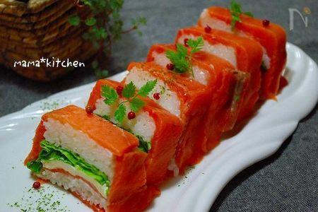 パーティー仕様♪ケーキみたいなサーモン押し寿司