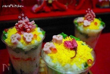 カップCake風♪海老マヨ寿司&ハムのお花レシピ