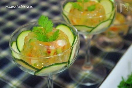 海老と彩り野菜のジュレ