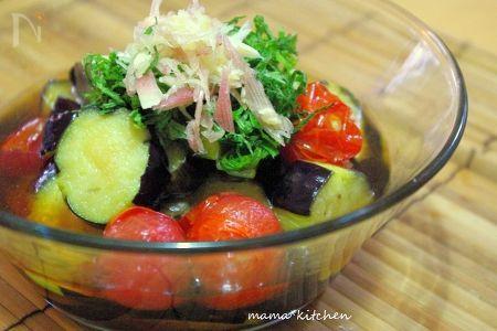 素麺つゆで簡単に♪茄子とプチトマトの揚げだし