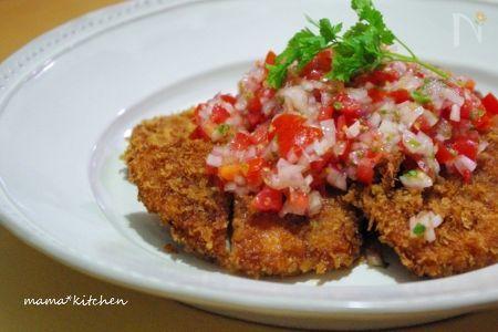 ポークカツレツ〜フレッシュトマトとバジルのソース