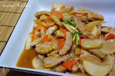 豚肉と根菜の中華炒め