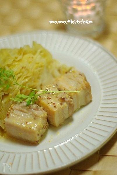 4. 塩豚とキャベツのマスタード煮