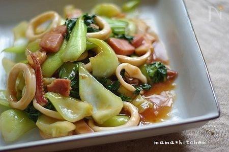 イカとチンゲン菜の中華餡がらめ