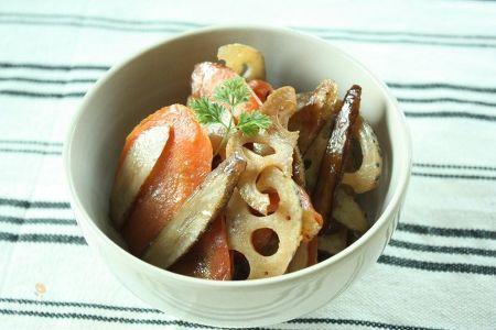 いろいろ根菜のバルサミコきんぴら