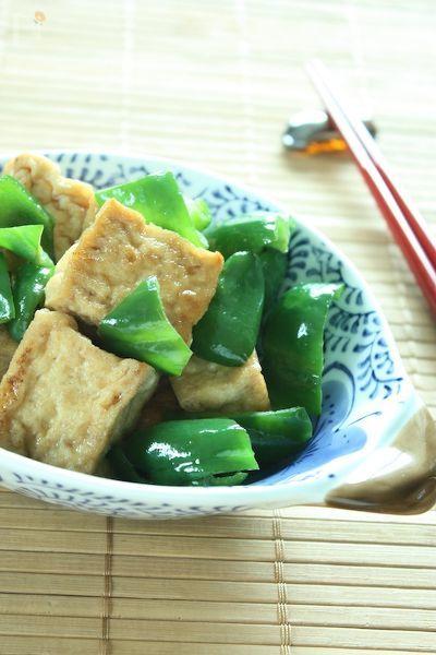厚揚げとピーマンの中華煮