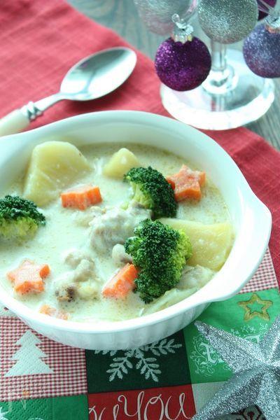 お野菜たっぷりクリスマスホワイトシチュー