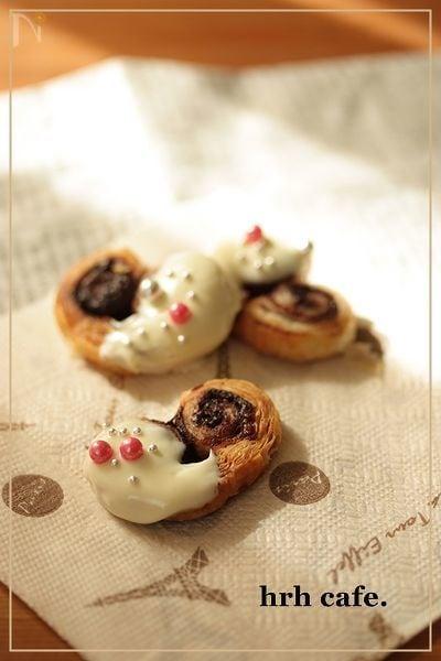 板チョコとパイシートで簡単ハートチョコパイ!