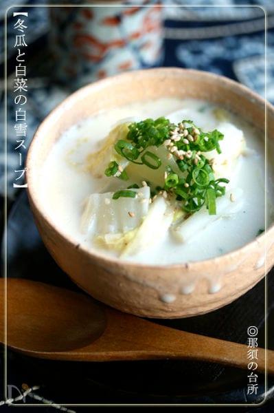 【冬瓜と白菜の白雪スープ】