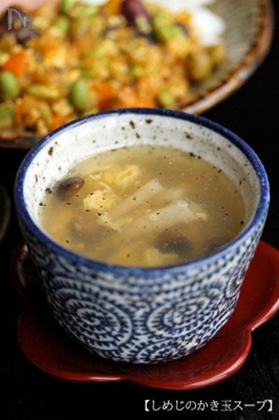 【しめじのかき玉スープ】