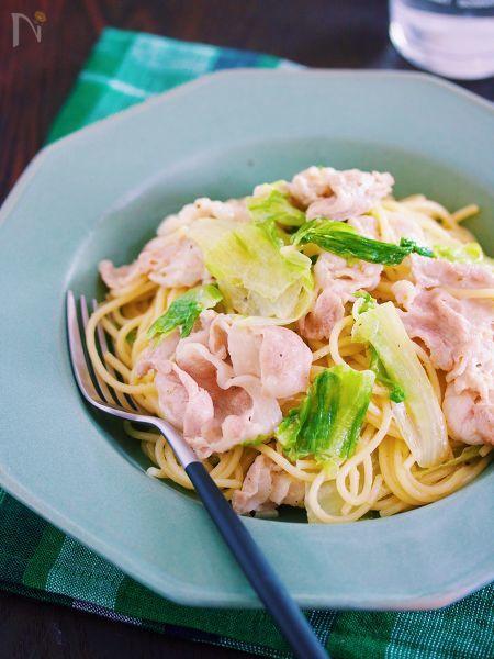 豚しゃぶ&レタスの柚子胡椒マヨパスタ